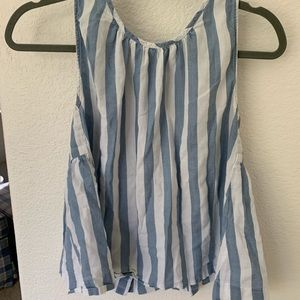 Madewell babydoll stripe blouse.